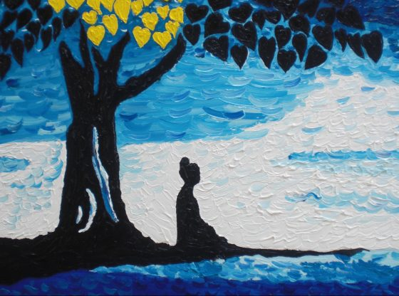 Mujer meditando.